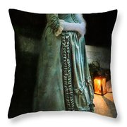 Lady By Lantern Light Throw Pillow