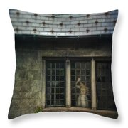 Lady By Window Of Tudor Mansion Throw Pillow