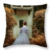 Lady In 19th Century Clothing By Conservatory Throw Pillow