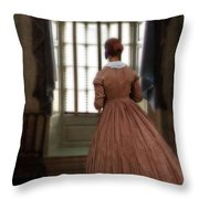 Lady In 19th Century Clothing Looking Out Window Throw Pillow
