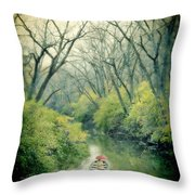 Lady In A Row Boat On A River Throw Pillow