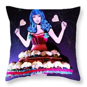 Lady In Flowers Throw Pillow