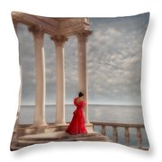 Lady In Red Gown By The Sea Throw Pillow