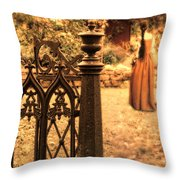 Lady In Renaissance Dress By Open Gate Throw Pillow