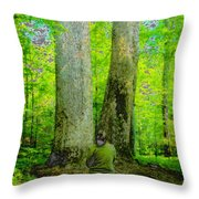 Lady In The Woods Throw Pillow