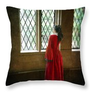 Lady In Tudor Gown Looking Out A Window Throw Pillow