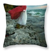 Lady In Vintage Clothing By The Sea Throw Pillow