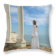 Lady In White By The Sea Throw Pillow