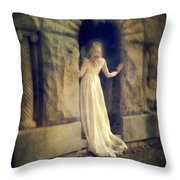 Lady In White Gown In Doorway Throw Pillow