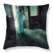 Lady In White Gown Walking Through A Mysterious Doorway Throw Pillow