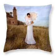 Lady In White With Parasol By The Sea Throw Pillow