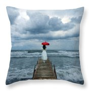 Lady On Dock In Storm Throw Pillow