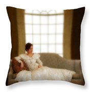 Lady Sitting On Sofa By Window Throw Pillow