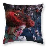 Lady Spring Silence Throw Pillow