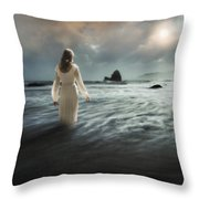 Lady Wading Into The Sea In The Early Morning Throw Pillow