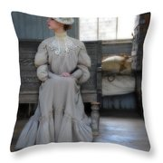 Lady Waiting In Train Depot Throw Pillow