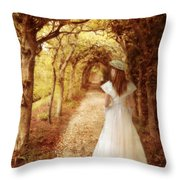 Lady Walking In Tree Tunnel In Garden Throw Pillow
