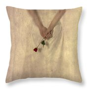 Lady With A Rose Throw Pillow
