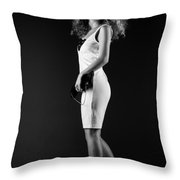 Lady With Curly Hair Bw Throw Pillow