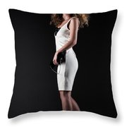 Lady With Curly Hair Throw Pillow