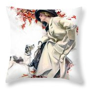 Lady With Dog Throw Pillow