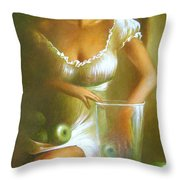 Lady With Green Apples Throw Pillow