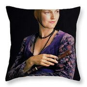 Lady With Recorder Throw Pillow