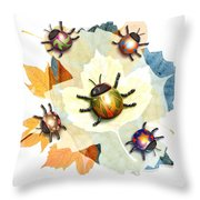 Ladybug Illustration Throw Pillow