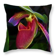 Lady's Slipper Throw Pillow by Judi Bagwell
