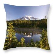 Lake And Mount Rainier, Mount Rainier Throw Pillow