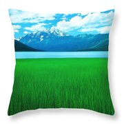 Lake Eklutna 2 Throw Pillow by Ronnie Glover