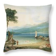Lake Geneva And Mont Blanc Throw Pillow by Joseph Mallord William Turner