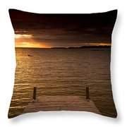 Lake Huron Dock Throw Pillow