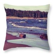 Lake Superior Beach Waves  Throw Pillow