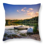 Lake View Row Boat Throw Pillow by Jenny Ellen Photography