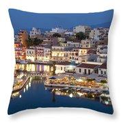 Lake Vouismeni Agios Nikolaos, Crete Throw Pillow