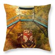Lake Winnipesaukee New Hampshire Railroad Train In Autumn Foliage Throw Pillow