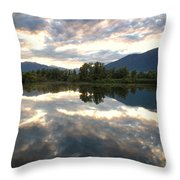 Lake With Clouds Throw Pillow