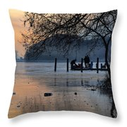 Lake With Ice In Sunset Throw Pillow