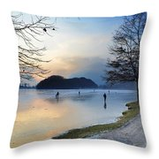 Lake With Ice Throw Pillow