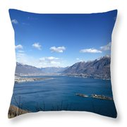 Lake With Islands And Snow-capped Mountain Throw Pillow