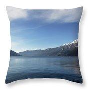 Lake With Snow-capped Mountain Throw Pillow