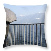 Lakefront With A Umbrella Throw Pillow