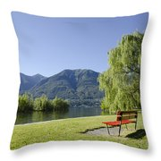 Lakefront With Mountain Throw Pillow