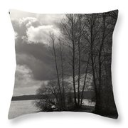 Lakeside Storm Passing Throw Pillow