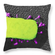 Lambda Phage On E. Coli Throw Pillow