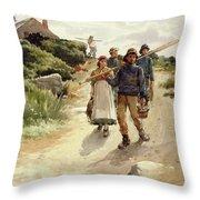Lamorna Cove Cornwall Throw Pillow