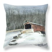 Lancaster County Covered Bridge In The Snow  Throw Pillow