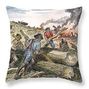 Land Clearing, C1830 Throw Pillow
