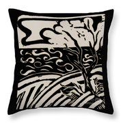 Land Sea Sky In Black And White Throw Pillow
